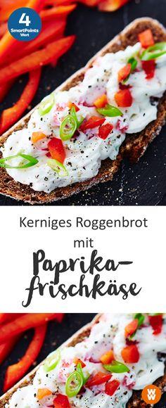 Kerniges Roggenbrot mit Paprikafrischkäse   4 SmartPoints/Portion, schnell & einfach, Weight Watchers, Frühstück, fertig in 5 Minuten