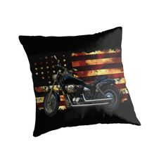 Union Flag, Stars and Stripes, Motorcycle throw pillow by Val  Brackenridge