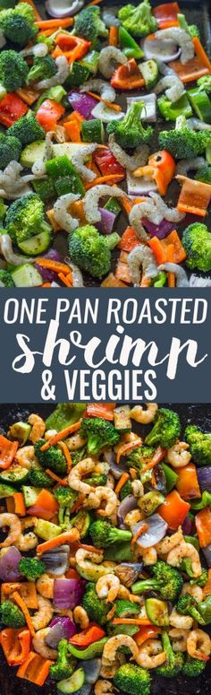 Easy One Pan Roasted Shrimp and Veggies I cooked it at 400d and it worked great.
