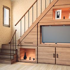 Staircase Interior Design, Home Stairs Design, Home Room Design, Home Interior Design, Stairs In Living Room, House Stairs, Staircase Storage, Pooja Room Design, Modern Stairs