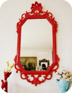 Red vintage mirror Looking for one of these for my bathroom....ugh so expensive!