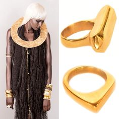 Accessories by ADÈLE DEJAK. Rings made of recycled brass in Kenya, £85-£95