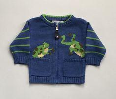 12 18 24 months 2T 3T 4T Marika Hahn Frog Sweater Zip Front Cardigan Cotton Blue…
