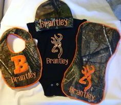 Newborn baby boy gift set camo personalized bib onesie burp cloth and hat. Baby Boys, Newborn Baby Boy Gifts, Baby Girl Camo, Camo Baby Stuff, Our Baby, Camouflage, Everything Baby, Cute Baby Clothes, Baby Boy Outfits