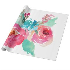 Watercolor Peonies Pink Turquoise Summer Bouquet Wrapping Paper Feb 1 2017 #junkydotcom #zazzle