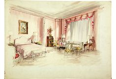 Presentation drawing by Parish-Hadley staff for pink bedroom. Gouache and watercolor on board.