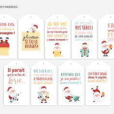 Lot de 9 tags, étiquettes pour cadeaux de noël - Tags humoristiques avec père noël