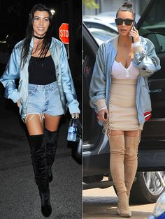 Fashion Faceoff: Who Wore It Better? Vote Now! | People - Courtney and Kim Kardashian in satin Gucci bomber jackets
