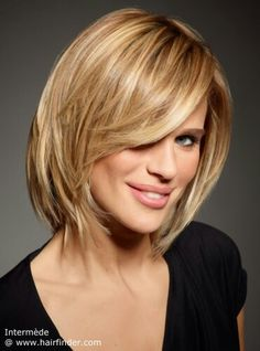 A nice clean cut medium long bob The cutting line is now heavily textured and a few layers were built into to create this light and airy flow with so much movement. A new classic with a soft and edgy attitude. Her long fringe is gently curved to the side