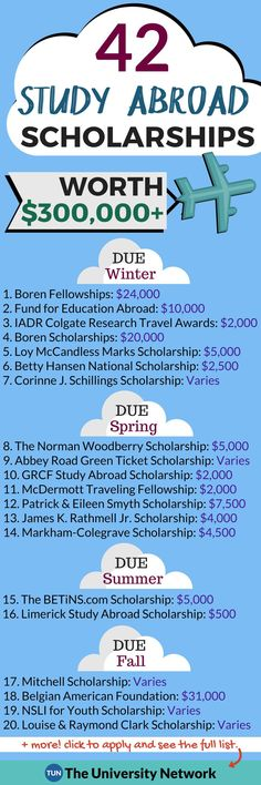 Here is a selection of Study Abroad Scholarships that are listed on TUN.