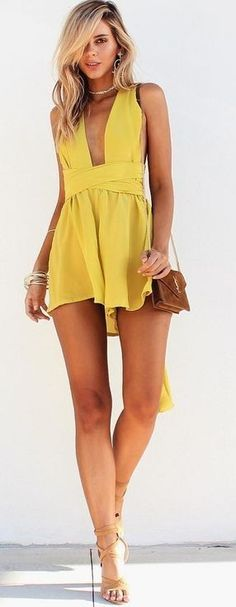 #summer #musthave #outfits   Chartreuse Playsuit Source