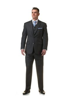 Grey 3 piece lounge suit with pale blue tie and pocket square - http://formallyyours.co.uk/  #wedding #suit #tailoring