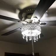 Noyes 5 -Blade Crystal Ceiling Fan with Remote Control and Light Kit Included Elegant Ceiling Fan, Modern Ceiling, Bedroom Ceiling Fan Light, Ceiling Fan Makeover, Ceiling Fan Chandelier, Ceiling Fan With Remote, Ceiling Design, Lamp Light, Bulb