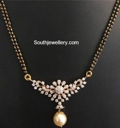 Jewelry OFF! Black Beads Mangalsutra Chain Models with diamond pendants Gold Mangalsutra Designs, Gold Earrings Designs, Gold Jewellery Design, Diamond Mangalsutra, Vintage Jewellery, Antique Jewelry, Bridal Jewelry, Beaded Jewelry, Bead Jewellery
