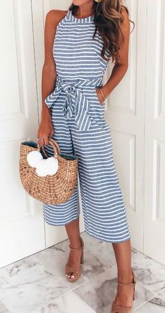 Cute Spring/ Summer outfit: Striped jumpsuit/ romper with Pom Pom wicker tote | Style | Fashion | OOTD