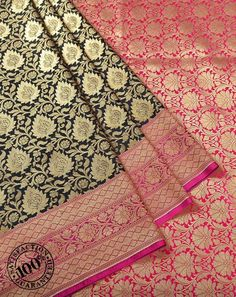 Black Art Silk Banarasi Sarees by Womeca