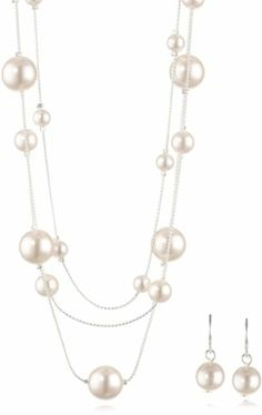 "Colored Simulated Pearl Illusion Chain Earrings and Necklace Set, 16+2"" - http://www.earringsandnecklacejewelry.com/colored-simulated-pearl-illusion-chain-earrings-and-necklace-set-162/"
