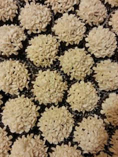 Guinness chocolate cupcakes with Irish cream frosting. Hydrangea flower icing design for a wedding.