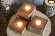 Items similar to Oak Barn Beam / Post Candle Holders - Wood Pieces - Wedding, Center Piece, Rustic Decor on Etsy