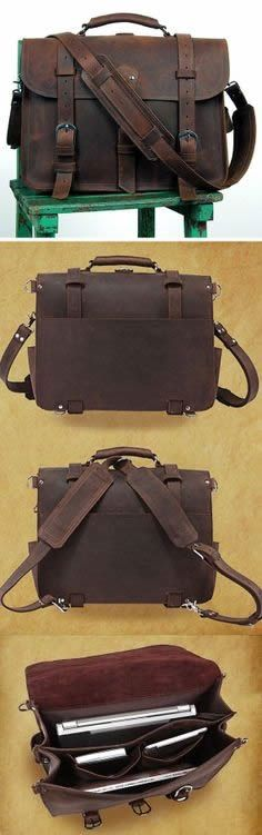 Men's Large Vintage Leather Briefcase / Duffle Bag / Travel Bag / Satchel - 2 ways: backpack / messenger