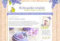 "Responsive Blogger Template. ""At the garden"" template. Premade. Blog design. Beautiful template with wood background and lilac flowers."