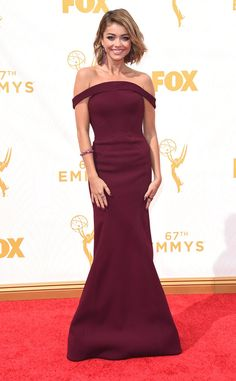 Pure Perfection from Fashion Police: 2015 Emmys  Modern Family star Sarah Hyland is radiant in this berry-toned Zac Posen dress.
