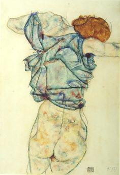 schwanenlied:  Sich ausziehende Frau, Egon Schiele