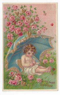 Valentine Postcard Cherub Umbrella Roses Gold Hearts Gilded Outlines Embossed