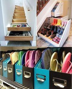 Ontem decidi que iria resolver de vez este problema que aflige 9 em 10 donas de casa: Onde guardar os danados dos sapatos que parece que se multiplicam durante a noite? Então, selecionei 45 ideias para você se inspirar!