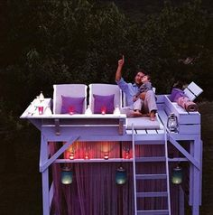 This is amazing! Cabana Mezzanine Playhouse in the backyard. A garden mezzanine provides the ideal spot for summer stargazing.
