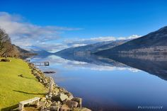 Long view of Loch Earn on a sunny winters day.