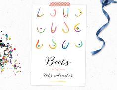 Boob Wall Calendar 2015, 2016 - Rainbow, Watercolor, Breasts, Boobies, Boobs