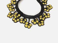 Crochet ganchillo de flores Mini amarillo collar joyería turca