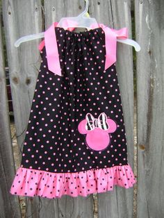 Minnie Mouse Dress Hot Pink and Black by CruzsDesigns on Etsy