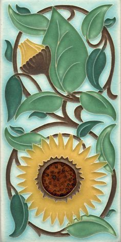 - About This Tile - Frames - Why Motawi Tile? English artist William DeMorgan created tiles that were dust-pressed flats, the designs looking like charcoal sketches overlain with watercolor paintings. Azulejos Art Nouveau, Art Nouveau Tiles, Art Deco, Art Nouveau Design, Sunflower Art, Sunflower Design, Ceramic Tile Art, Mosaic Art, Art Tiles