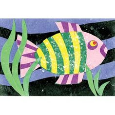 United Art and Education Art Project: Create a cut-paper fish collage using these simple instructions! Ocean Theme Crafts, Ocean Themes, Sea Creatures Crafts, Fish Collage, Coral Reef Art, Paper Fish, Underwater Art, 3rd Grade Art, School Art Projects