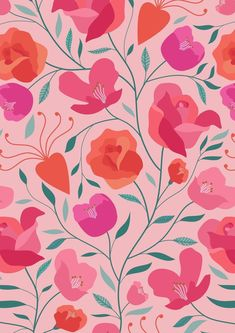 Carly Watts Illustration: Valentina #valentinesday #valentine #floral #flowers #cute #pastel #pattern #repeatpattern #surfacepattern #surfacepattern #surfacedesign