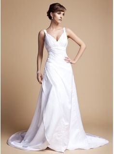 Wedding Dresses - $188.99 - A-Line/Princess V-neck Court Train Satin Wedding Dress With Ruffle Lace Beading  http://www.dressfirst.com/A-Line-Princess-V-Neck-Court-Train-Satin-Wedding-Dress-With-Ruffle-Lace-Beading-002012057-g12057   ***********THis is the one*****