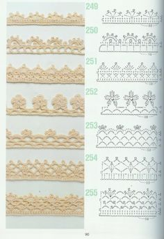 crochet edging patterns from a japanese crochet magazine free crochet edging patterns (more where these are! 27 marvelous photo of crochet edging patterns ISSUU - 262 Patrones de crochet by Darling Gabella using 251 for moms blanket crochet borders - the Crochet Edging Patterns Free, Crochet Lace Edging, Crochet Borders, Crochet Diagram, Crochet Chart, Thread Crochet, Crochet Trim, Filet Crochet, Diy Crochet