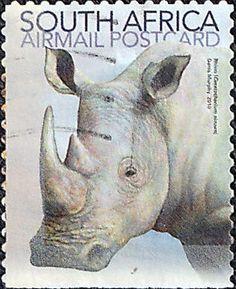 Stamp: White Rhinoceros (Ceratotherium simum) (South Africa) (Fauna (Mammals))…