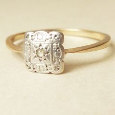 Scalloped Square Art Deco Diamond 9k Gold Engagement by luxedeluxe