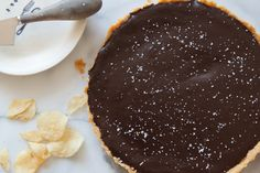 Salted Chocolate Tart with Kettle Sea Salt Chip Crust - Love the idea of this crust!