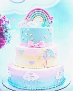 Unicorn rainbow birthday party cake #unicorn #rainbow #unicorncake #partyideas #kidsparty #rainbowcake