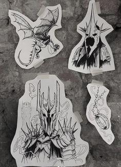 Tatouage Tolkien, Tolkien Tattoo, Lotr Tattoo, Dark Tattoo, Tattoo Life, Sketch Tattoo Design, Tattoo Sketches, Tattoo Drawings, Johnny Cash Tattoo
