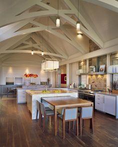 Contemporary Kitchen Design Photo By Interiors Studio Martha S Vineyard Al Beam Ceiling Marble Island