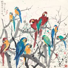 Wu Guanzhong 吴冠中 (China Parrots (n.) ink and color on paper x cm Sumi E Painting, Korean Painting, Japan Painting, Chinese Painting, Illustrations, Illustration Art, Wu Guanzhong, Singapore Art, China Art