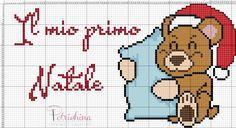 il mio primo natale, orso, orsetto natale schema punto croce - cross Stitch - Kreuzstich - Punto de Cruz
