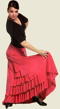 Falda con godet trasero cubierto por cinco volantes. Una falda original para el escenario con corte y tejido de última moda, pero con los colores más característicos del flamenco. Confeccionada en poliester para una perfecta adaptación a la figura.