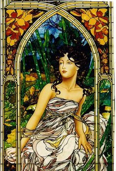 Alphonse Mucha  inspired , Morning by Stained Glass Painter / Jim M. Berberich, via Flickr