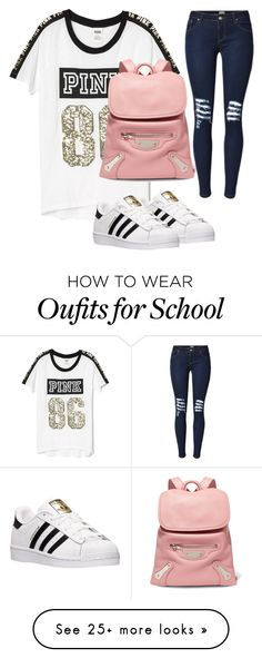 """""""Basic High School Style"""" by alyajihann on Polyvore featuring Victoria's Secret, Balenciaga and adidas"""